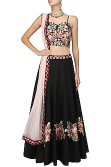 Black Floral Embroidered Strappy Blouse and Lehenga Set by Ruhmahsa