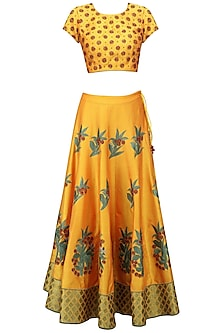 Mustard and Green Floral Embroidered Lehenga Set by Ruhmahsa