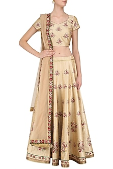 Beige and Pink Embroidered Lehenga Set by Ruhmahsa