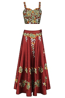 Red and Green Embroidered Lehenga Set by Ruhmahsa