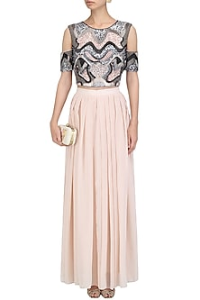 Pink Sequins Embroidered Crop Top with Palazzo Pants by Ruhmahsa