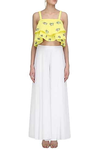 Yellow Floral Motifs Crop Top and White Palazzo Pants Set by Ruhmahsa