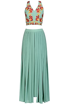 Green Floral Embroidered Crop Top and Palazzo Pants Set by Ruhmahsa