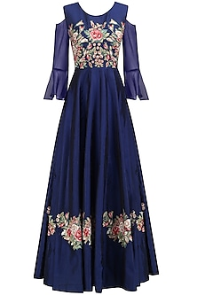 Navy Blue Floral Embroidered Gown by Ruhmahsa