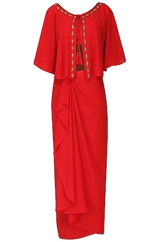 Red Embroidered Crop Top With Drape Skirt And Cape Set by Ruhmahsa
