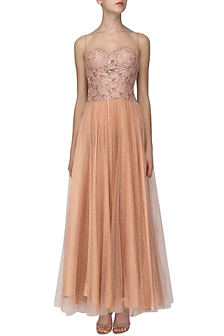 Peach Embellished Shimmer Gown by Ruhmahsa