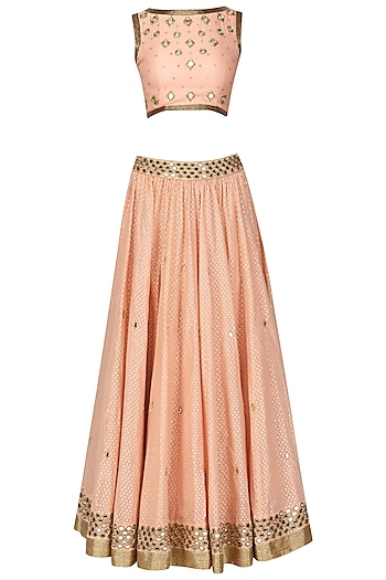 Peach Mirror Work Lehenga Set by Ruhmahsa