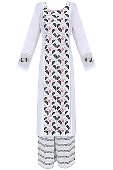 White, Pink and Blue Floral Embroidered Kurta and Palazzos Set by Ruhmahsa