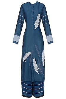 Blue, White and Black Feather Motifs Kurta and Palazzos Set by Ruhmahsa