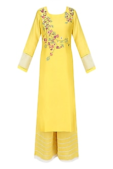 Yellow, Red, Green and White Floral Embroidered Kurta and Palazzos Set by Ruhmahsa