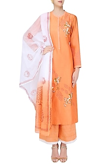 Orange, White and Gold Birds Embroidered Kurta and Palazzos Set by Ruhmahsa
