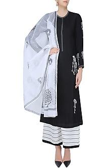 Black and White Embroidered Kurta and Palazzos Set by Ruhmahsa