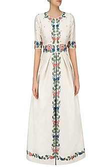 White Floral Embroidered Tunic with Black Block Print Skirt by Ruhmahsa