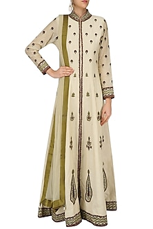 Beige and Maroon Bootis Embroidered Anarkali Set by Ruhmahsa