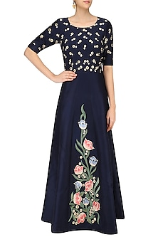 Navy Floral Embroidered Fit and Flared Gown by Ruhmahsa