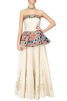 White Floral Embroidered Peplum Top with White Block Printed Skirt by Ruhmahsa