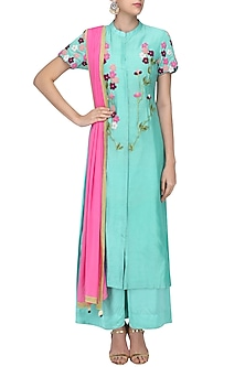 Blue Floral Embroidered Kurta and Palazzo Pants Set by Ruhmahsa