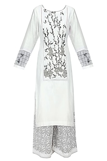 Black and White Floral Embroidered Kurta and Palazzo Pants Set by Ruhmahsa