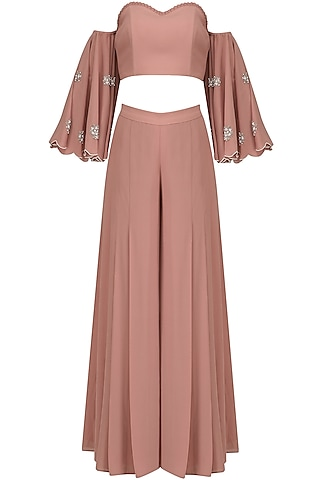 Blush Pink Off Shoulder Embroidered Crop Top and Palazzo Pants Set by Ruhmahsa