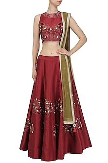 Maroon Thread Work Embroidered Lehenga Set by Ruhmahsa