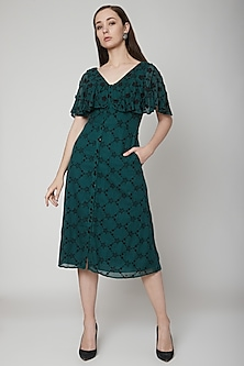 Green Embroidered Midi Dress by Renge