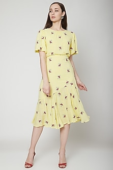 Yellow Embroidered Midi Dress by Renge