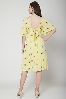 Yellow Embroidered Midi Dress With Tie-Back by Renge