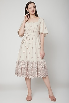 Beige Embroidered Midi Dress by Renge