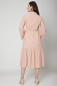 Pink Embroidered Midi Dress With Drawstrings by Renge