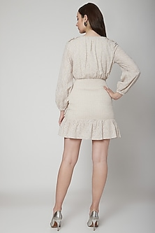 Beige Floral Embroidered Mini Dress by Renge