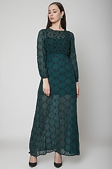 Green Floral Mesh Maxi Dress With Slip Dress by Renge