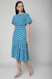 Blue Embroidered Linen Midi Dress by Renge