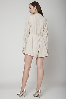 Beige Embroidered Playsuit With Drawstrings by Renge
