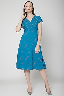 Blue Midi Dress With Embroidery by Renge