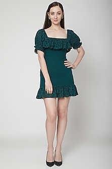 Green Embroidered Smocked Dress by Renge