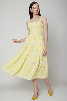 Yellow Embroidered Smocked Dress by Renge