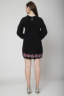 Black Embroidered Pintuck Dress by Renge
