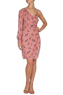 Peach Rayon Mini Dress by Renge