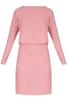 Pink Sheer Mini Dress by Renge