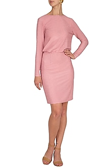 Pink Mini Dress With Open Cowl Back by Renge