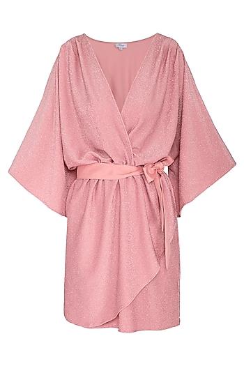 Pink Mini Dress With Belt by Renge
