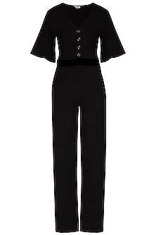 Black Jumpsuit With Attached Velvet Belt by Renge