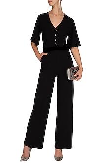 Black Jumpsuit With Attached Velvet Belt by Renge