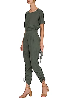 Dark Olive Green High Waisted Trouser Pants by Renge