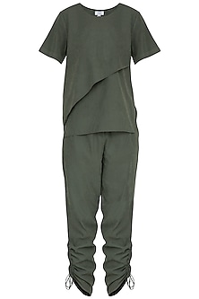 Dark Olive Green Polyester Top by Renge
