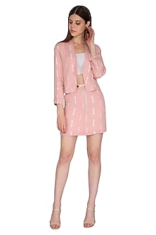 Mellow Rose Pink Embroidered Jacket by Renge