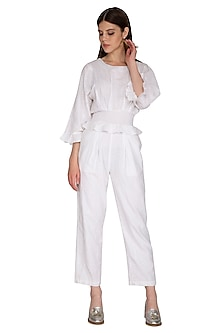 White Embroidered Jumpsuit by Renge