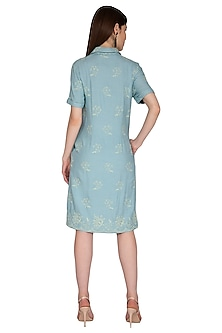 Green Checkered & Embroidered Shirt Dress by Renge