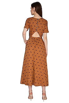 Coffee Brown Embroidered Dress by Renge