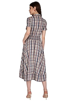 Multi Colored Midi Dress With Belt by Renge